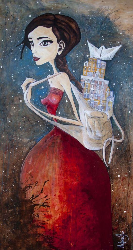 Melanie Jai, Mixed Media Artist. Carry it with me. #melaniejaiart #melaniejai #artwork #experience #inspire #painting #portrait #gallery #artgallery #asd #illustration #artuncovered #modernart #mixedmedia