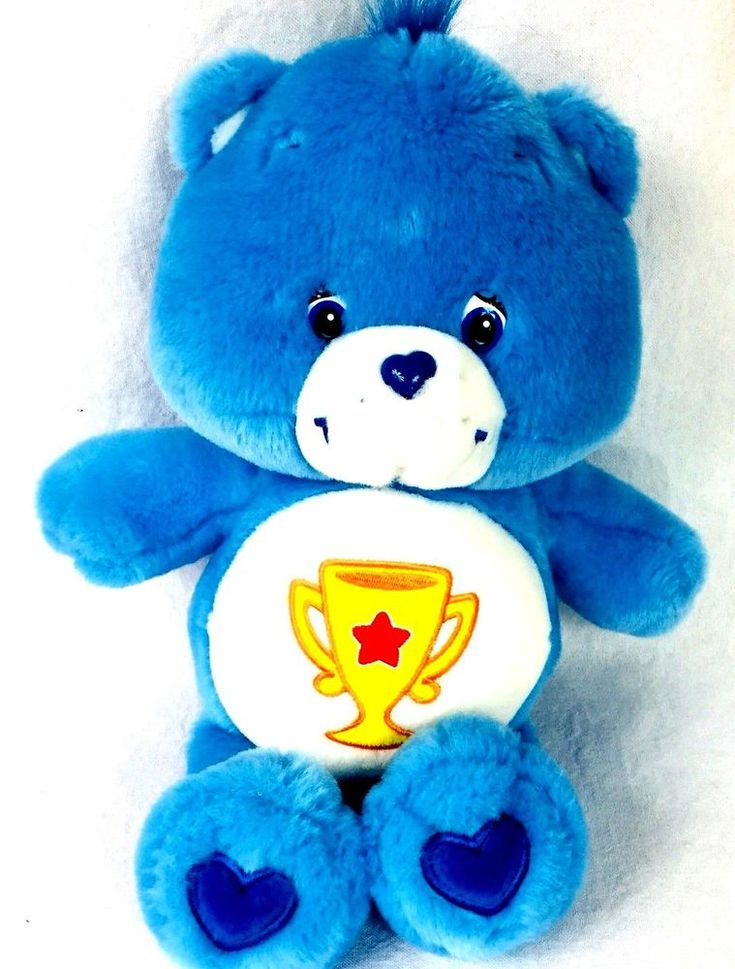 """Care Bear Champ 13""""  2003 Blue With Gold Star Trophy Vintage TCFC INC Clean"""