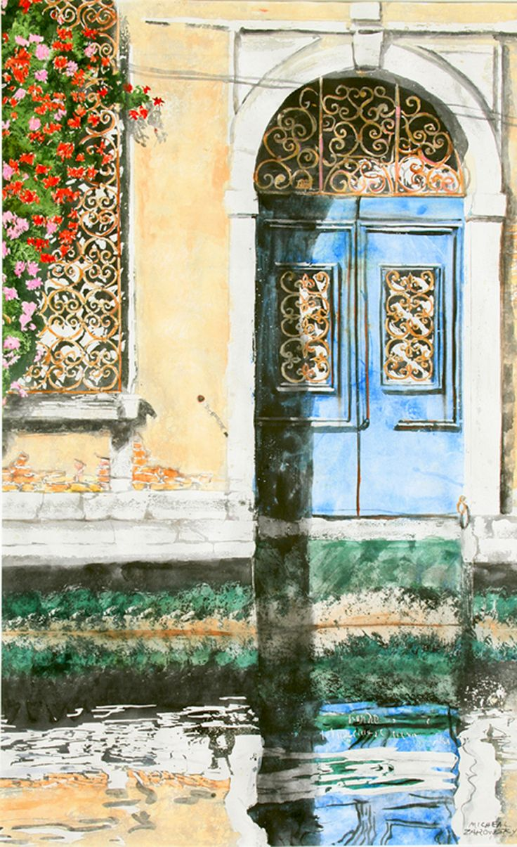 """blue door canal dorsoduro venice 30"""" x 18"""" micheal zarowsky / watercolour on arches paper / available $2050.00"""