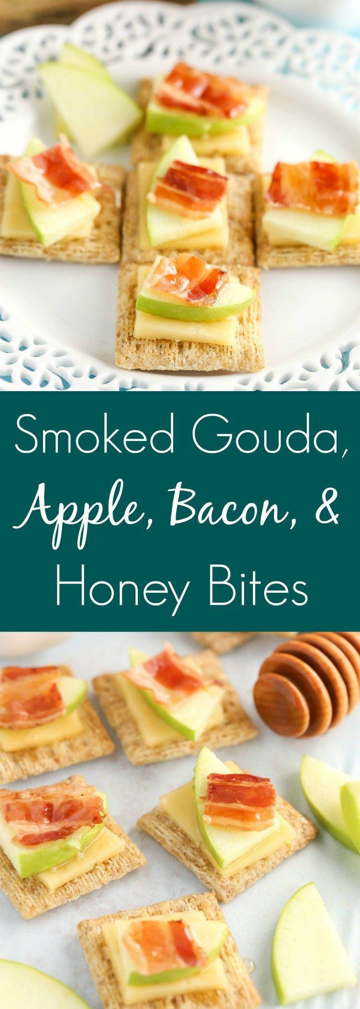 These Smoked Gouda, Apple, Bacon, and Honey Bites are a delicious andeasy appetizer! #MadeForMore #Walmart #ad