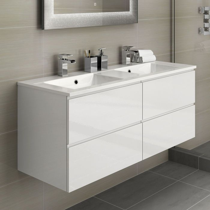1200mm Trevia High Gloss White Double Basin Cabinet Wall Hung Bathroom Vanity Units Bathroom Furniture Storage Double Vanity Bathroom