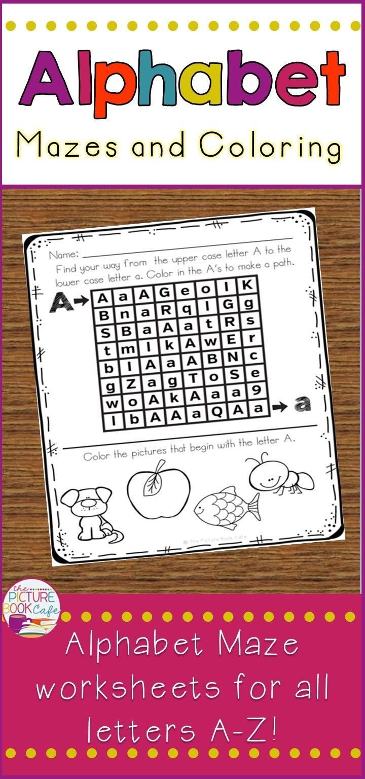 Alphabet Maze And Coloring Worksheets For All Letters A Z These Alphabet Mazes Are Perfect For Helping Students Recognize Letter Maze Lettering Maze Worksheet [ 1536 x 720 Pixel ]