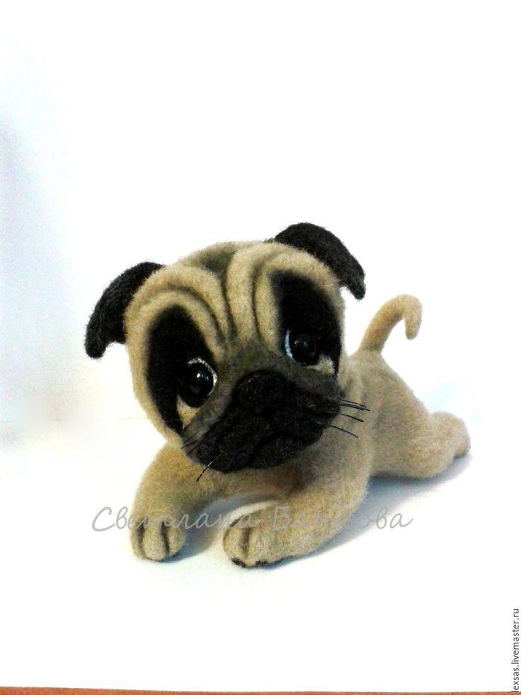 Купить Мопсик Джоник - валяная игрушка, валяная собака, валяная собачка, валяный мопс