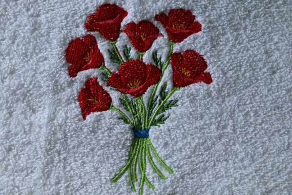 Elegant decorative hand towel featuring Bouquet of by TinasDecor