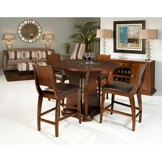 Transitional 5 Piece Round Counter Height Dining Set With Built In Lazy  Susan