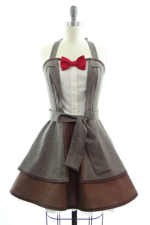 Pre-Order - Retro Halter Dress - Bowtie & Pinstripes Sexy Womans Dress - Vintage Halter Style - 11th Pin up Hero Rockabilly Cosplay