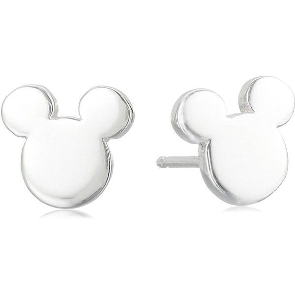 Amazon.com: Disney Sterling Silver Mickey Mouse Silhouette Post Stud... ($12) ❤ liked on Polyvore featuring jewelry and earrings