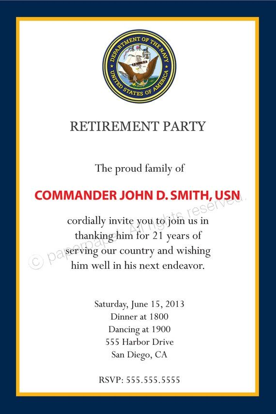 Military Retirement Party Invitation all by PaperPapelShop on Etsy, $10.00