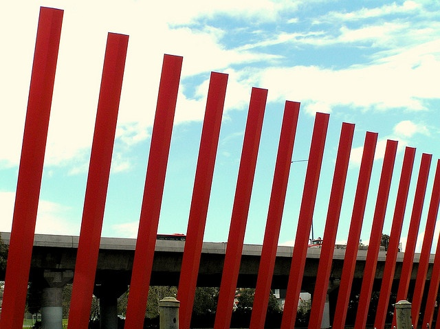 The Melbourne Gateway marks the entry to the City of Melbourne from Tullamarine Airport. It is a huge urban sculpture on the Tullamarine Freeway at Flemington and other locations along the freeway.