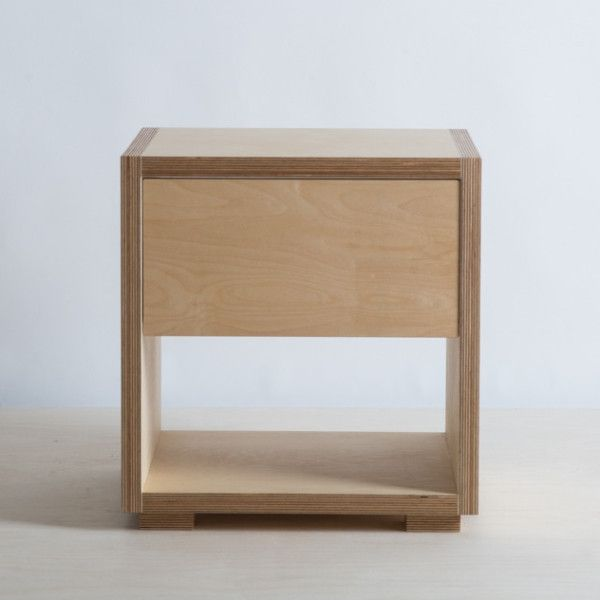 Birch plywood bedside cabinet with soft close drawer