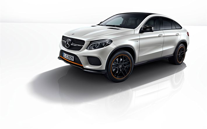 Download wallpapers 4k, Mercedes-Benz GLE Coupe, 2018 cars, tuning, OrangeArt Edition, white GLE Coupe, Mercedes