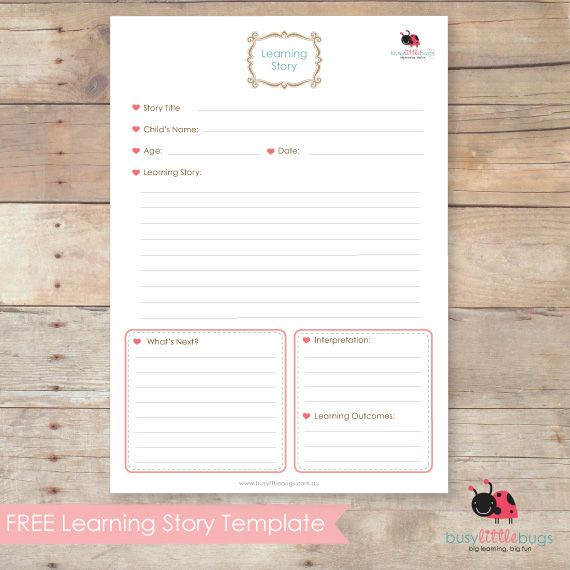 Freebie Friday – Learning Story Template | Busy Little Bugs