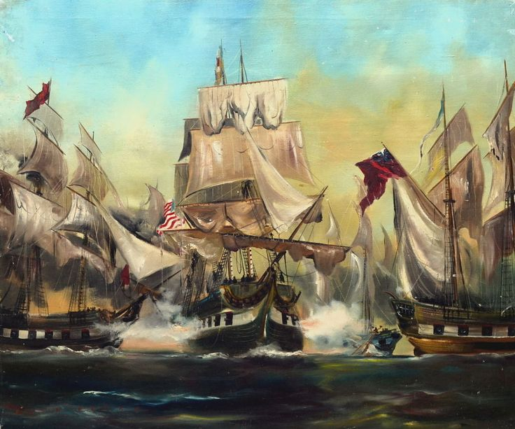 USS Niagara Battle of Lake Erie Marine Oil Painting by Dion Pears (1929–1985) #Realism