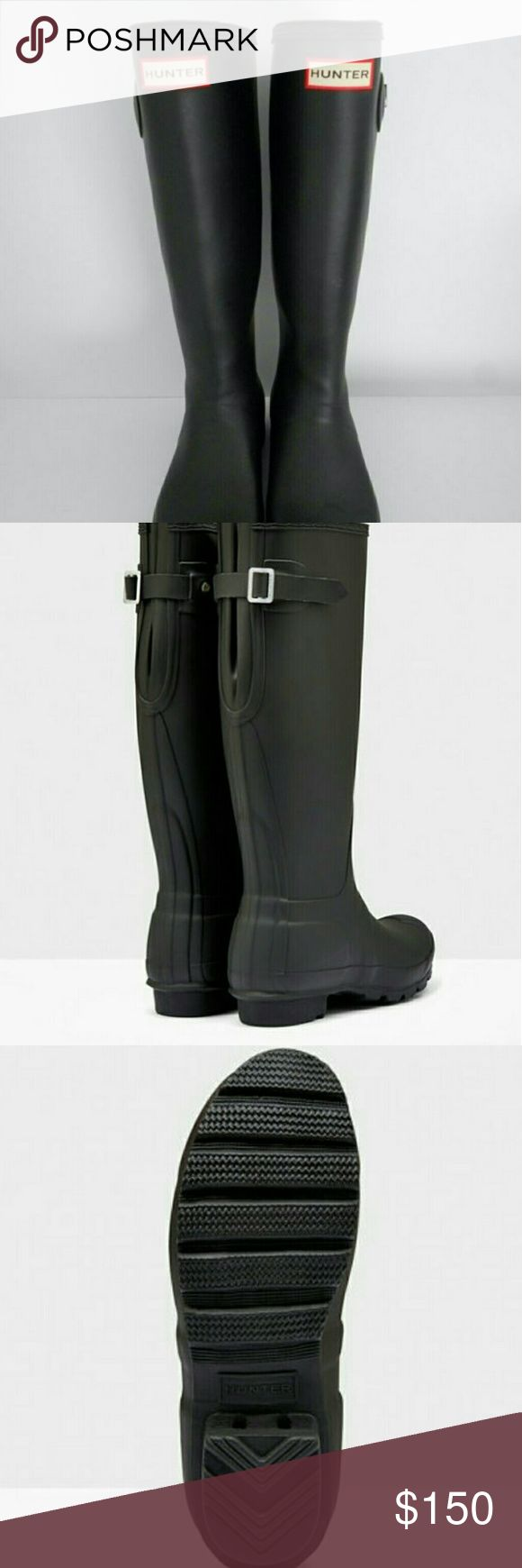 100%Auth Hunter Tall Black Matte Rain Boots Boots & 2 pairs of Hunter Socks!  Adjustable Rain Boot is made from natural rubber in a matte. It features a buckle at the back to adjust fit. Handcrafted Waterproof Textile lining Adjustable strap at back enhance fit Natural rubber And comes with 2 pairs of 100% Auth Hunter Tall Socks!!!!! I can't use without the boots ! No trades or try on.please factor in your getting 2 pairs of Auth socks from Hunter ! Please factor in heavier shipping costs on…