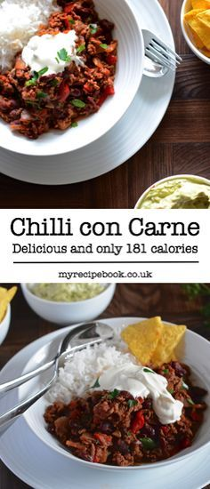 Delicious and healthy chilli con carne with a little twist, only 181 calories per serving