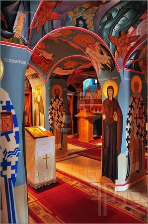 Picture of painted interior of a small Russian Orthodox church