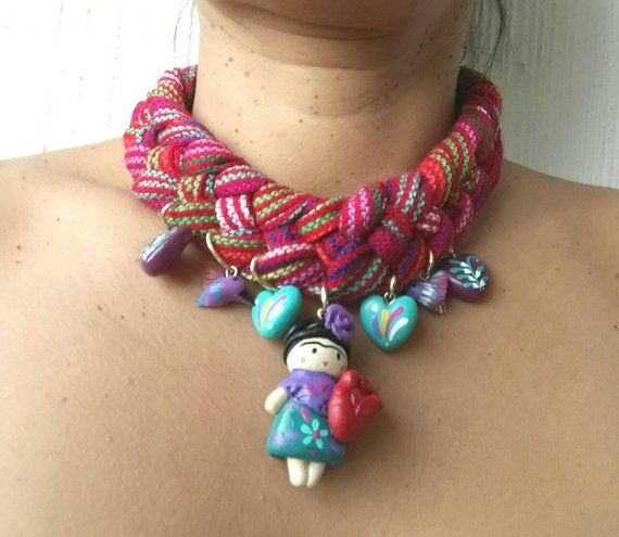 Braided Mexican Necklass Choker Mexican Necklace Mexican Etsy Mexican Jewelry Mexican Fabric Chokers
