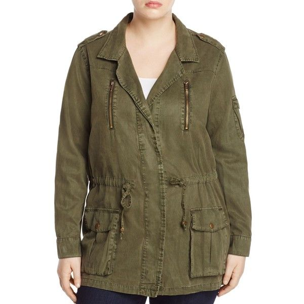 Lucky Brand Plus Drawstring Military Jacket ($58) ❤ liked on Polyvore featuring plus size women's fashion, plus size clothing, plus size outerwear, plus size jackets, military olive, army green jacket, army jackets, lightweight field jacket, olive jacket and olive field jacket
