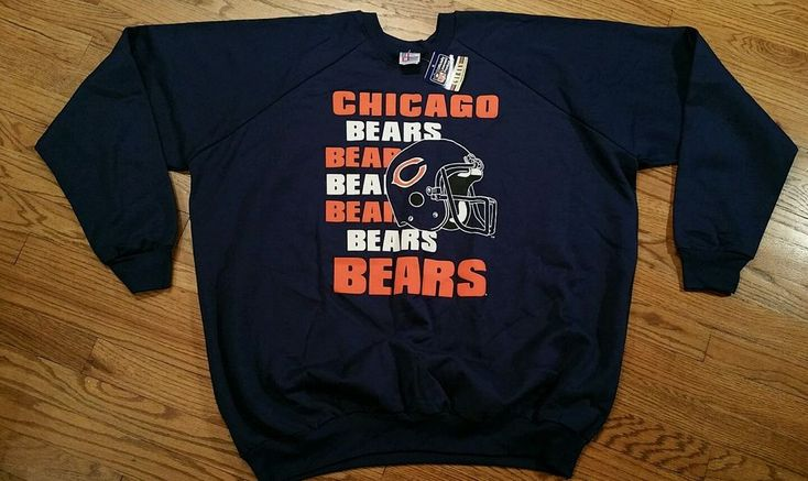 Chicago Bears Football Sweatshirt shirt Men's 4XL NFL blue Vintage New with Tag  #Garan #ChicagoBears