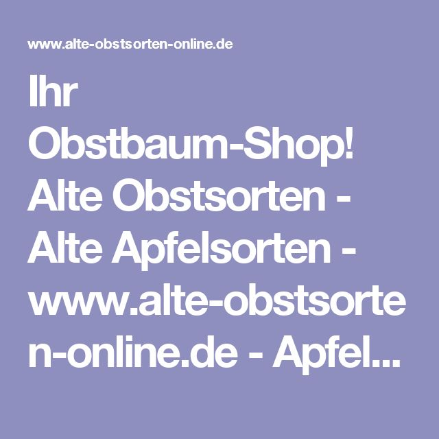 Ihr Obstbaum-Shop! Alte Obstsorten - Alte Apfelsorten - www.alte-obstsorten-online.de - Apfelbaum, Sommerapfel 'Charlamowsky' - alte Apfelsorten!