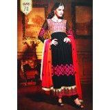 Traditional Anarkali Salwar Kameez Fabric Unstitched Embroidered Black Suit