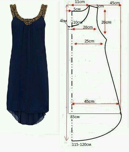 Vestido simple Bordado en cuello y sisa