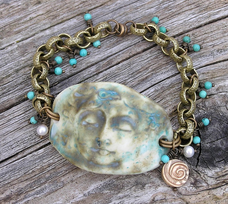 porcelain, turquoise, freshwater pearl, and bronze bracelet. OOAK.Artisan Crafts, Jewelry Crafts, Crafts Bracelets, Porcelain, Freshwater Pearls, Bronze Bracelets, Goddesses Bracelets, Sea Goddesses, Jewelry Ideas