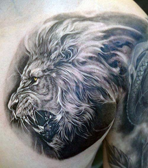 White And Grey Ink Guys Lion Chest Tattoos                                                                                                                                                                                 More