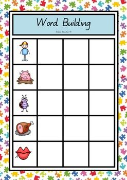 Students place the word building sheet on a cookie tray or magnetic backing. Identify the picture in the boxes and build the words associated by placing magnetic letters in the blank boxes. Record your answer by writing it on the matching recording sheet.