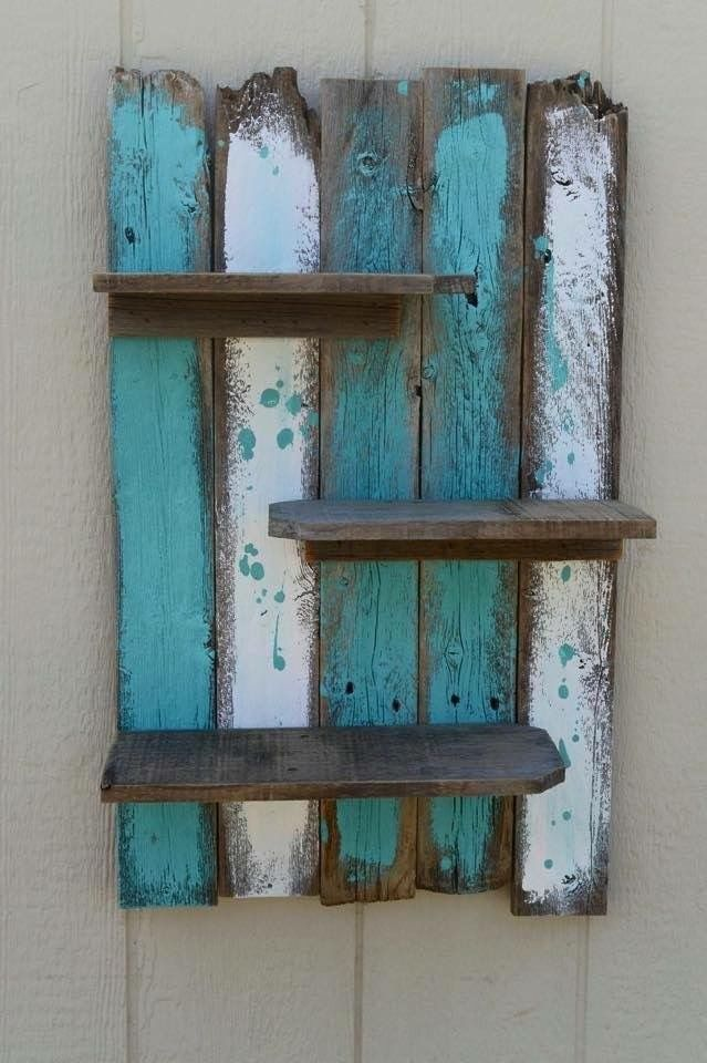 Turquoise, white, brown | painted shelf, worn-out paint