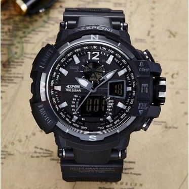 30 ATM Water Proof Dual Display Sports Watch Back Light PU Band Digital