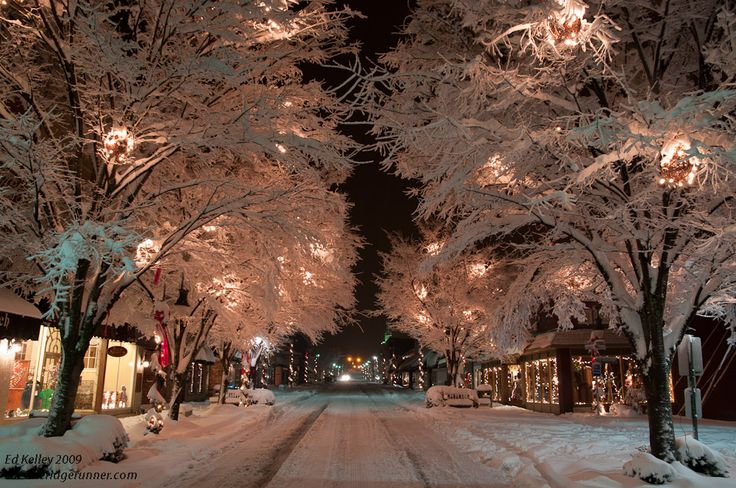 Waynesville, NC, after a winter snow. This beautiful little mountain town is a great weekend getaway with its artsy shops and cafés.