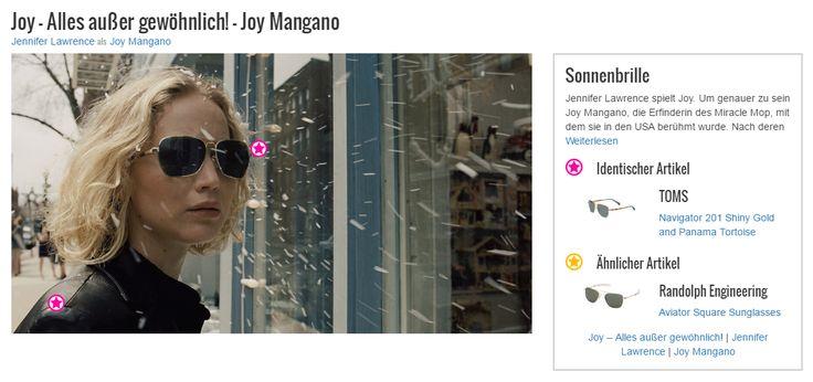 Jennifer Lawrence spielt Joy. Um genauer zu sein Joy Mangano, die Erfinderin des Miracle Mop, mit dem sie in den USA berühmt wurde. Nach deren radikaler optischer Verwandlung von der eleganten Businessdame zur knallharten Geschäftsfrau mit Lederjacke und Sonnenbrille, trägt Jennifer Lawrence dieses besondere Accessoire von TOMS. Die ausgefallene Form der Sonnenbrille und das maskulin wirkende Gestell des Navigator 201 Modells unterstützen das Outfit und lassen Jennifer Lawrences Look als…
