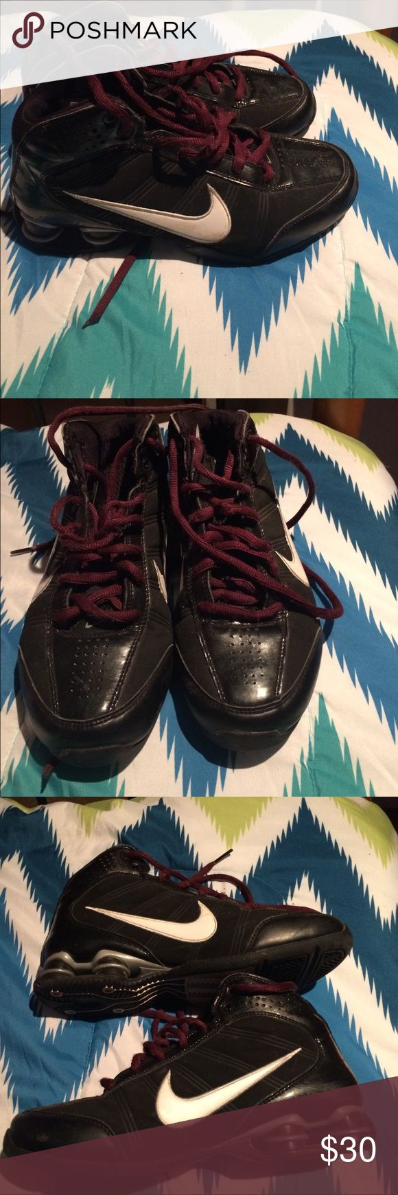 Black Nike shox Women's size 6 black Nike shox with maroon laces. Worn mostly indoors for basketball Nike Shoes Athletic Shoes