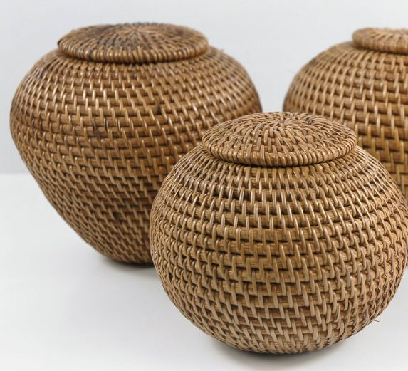"""Handmade Bali Indonesian Lombok Island Rattan Round Ball Baskets $17 Reg. $45 5"""" tall x 6"""" wide Beautifully hand made baskets – these are all natural finish, traditional style handwoven rattan baskets from Indonesia. Woven with attention to detail."""