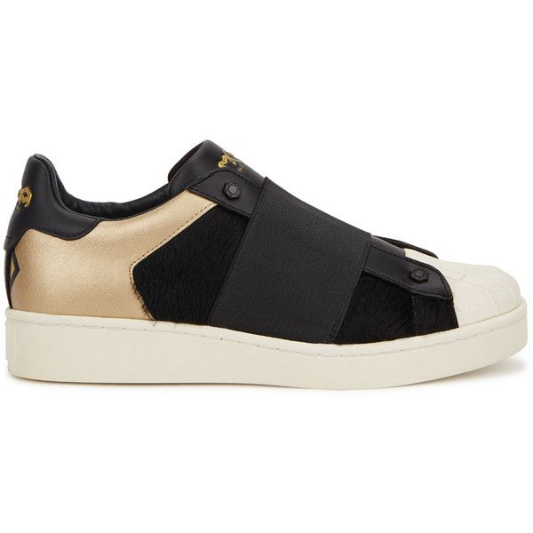 MOA Master of Arts M409 black faux fur and leather trainers (£160) ❤ liked on Polyvore featuring shoes, sneakers, leather slip on shoes, leather sneakers, slip-on sneakers, black slip on shoes and black slip on sneakers