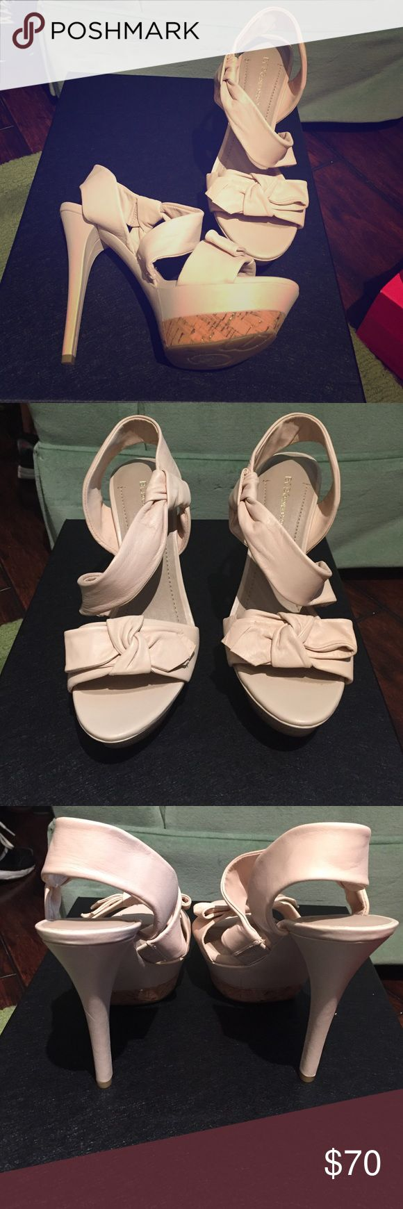 BCBG heels Blush BCBG leather heels, brand new never been worn. NWOT BCBG Shoes Heels