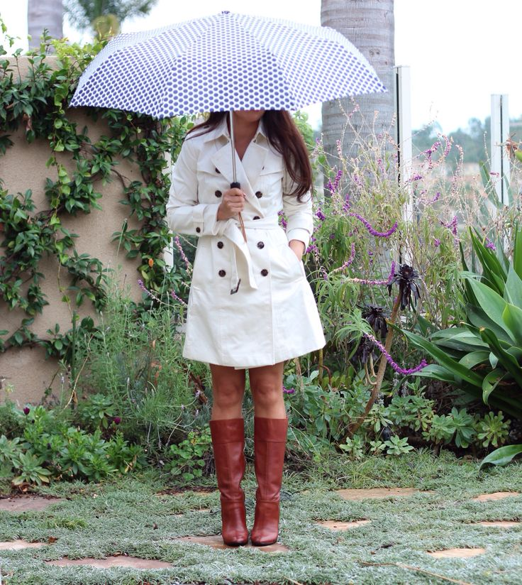 Banana Republic classic trench in cocoon, J.Crew polka dot umbrella, Halogen cognac boots - rainy day outfit