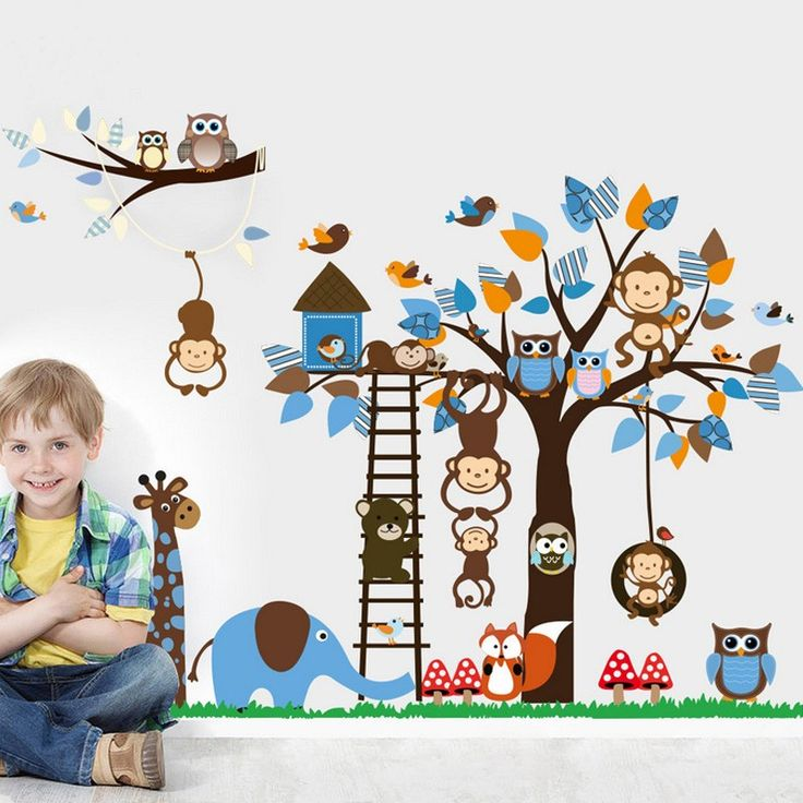 It's a large nursery wall decal about 186cm x 95cm. The decal included many cute animals, owls, monkeys, little bear, elephant, birds, giraffe, and squirrel. Help you build a lovely baby room. It's easy to assemble, just peel and stick, no transfer paper required. Easy to remove without any residue.