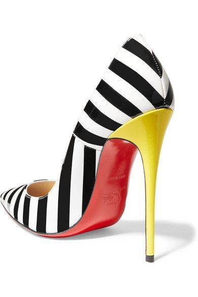 <3 @benitathediva Christian Louboutin in black, white and yellow patent-leather. Made in Italy. Sexy stiletto pumps.