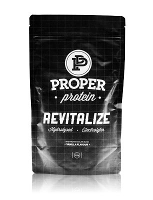PROPER PROTEIN REVITALIZE.  HYDROLYSED WHEY, ELECTROLYTES, AMINOS ACIDS, AMAZING FLAVOUR, AUSTRALIAN MADE AND OWNED.