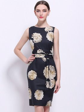 This stylish dress features: Round neckline, sleeveless, floral prints,  waist tie detailing and back zip up closure Above knees length Imported  polyamide/ ...