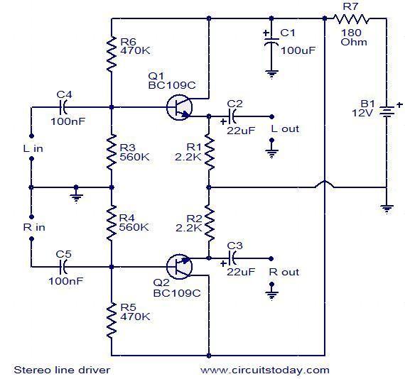 Line Driver Audio Transistor Simple Estereo Circuito Base Circuit Diagram Transistors Power Amplifiers