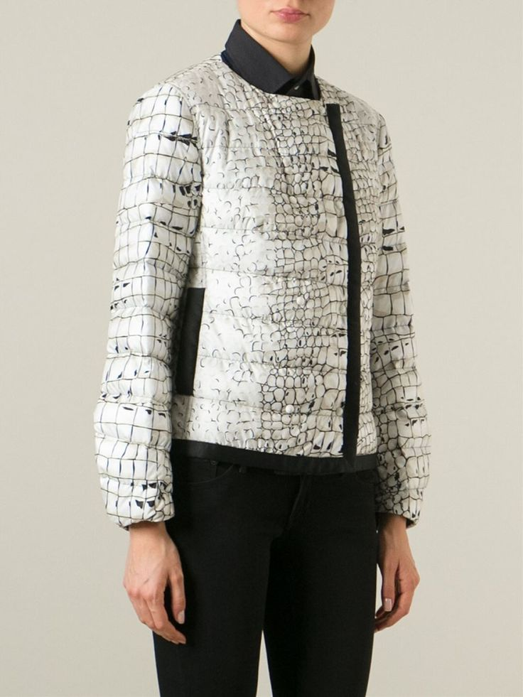 Multicoloured silk blend and down feather printed padded jacket from Moncler Gamme Rouge