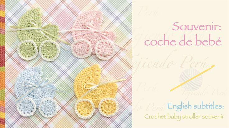 Souvenir coche para bebé tejido a crochet / Crochet baby stroller applique