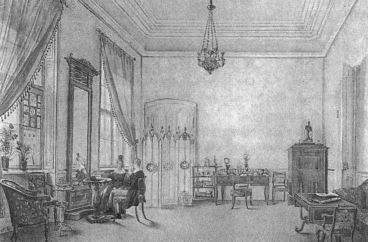 Обычный прямолинейный потолочный карниз в гостиной. Акварель неизвестного художника. 1830-е гг.