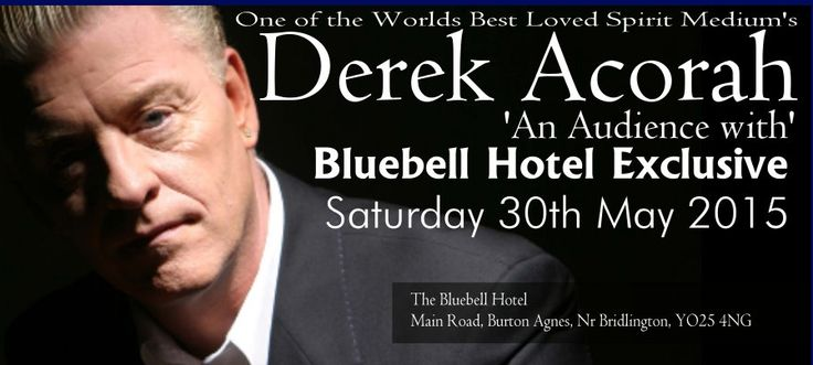 Derek Acorah World famous spirit mediums appearing at the Bluebell Hotel, Burton Agnes 30th May 2015.