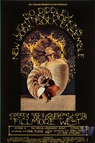 Pink Floyd 10/21/70 and Small Faces with Rod Stewart 10/28/70 at Fillmore West. Poster art by David Singer