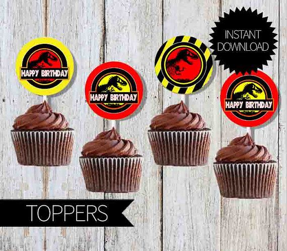 Jurassic Park Birthday Party Printable Cupcake TOPPERS- Instant Download | Jurassic World |