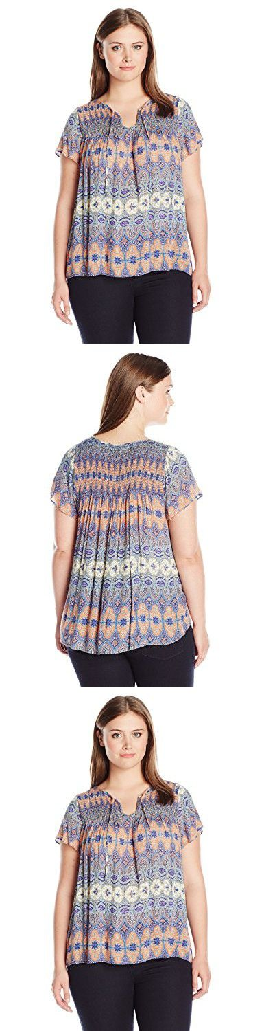 Lucky Brand Women's Plus Size Printed Smocked Top, Multi, 2X